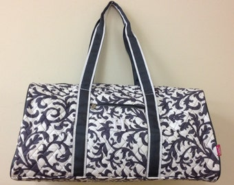 Love this Gray Damask Duffle bag!!!!! Monogram Ready!