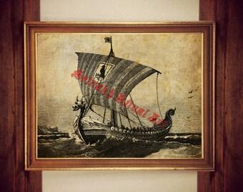 Viking ship poster, nordic print, Vikings poster, norse art print, scandinavian home decor, norse print, ocean, mythology, dragon boat #353