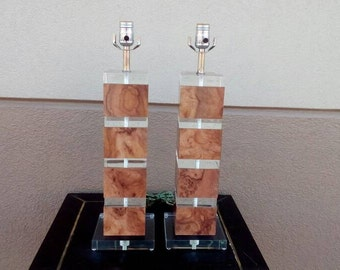 Pair of Vintage Lucite Table Lamps, Stacked Square Lucite Lamps 1970's