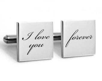 Wedding Cufflinks, Groom, Stainless steel cufflinks, engraved cuff links, heirloom