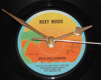 "Roxy Music both ends burning  7"" vinyl record clock"