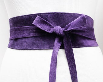 Purple Suede Obi Belt | Corset Waist Belt | Suede Wrap Tie Belt | Real Suede Leather Belt| Handmade Belt | Plus size belts