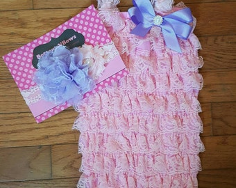 Pink and Lavender  Petti Lace Romper and Headband set,Birthday,flower girl,ballerina,newbornphoto prop,infant, toddler, girl