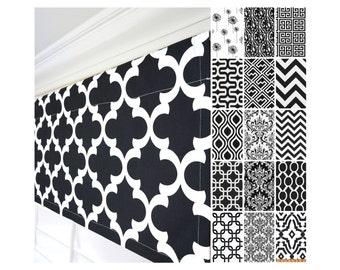 Black and White Window Valance.Kitchen Valance.Black Damask Custom Valance.Greek Key Valance.Black & White Valance Curtains