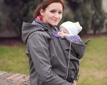 Beautiful babywearing softshell jacket with hood - grey. Baby and mother, 3 in 1, baby carrying coat.
