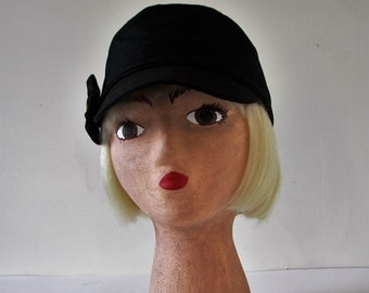 Women's Hat Engineer style hand sewn: Black Denim