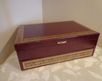 Mele Burgundy 3 Tier Leatherette Jewelry Box, Ivory Velvet Interior, Gold Tooling Edging, Wine Mele Leatherette Treasure Box