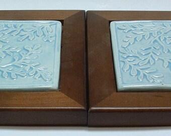 2 Tile Trivet set, leaf pattern/wood framed, sky blue glaze housewarming gift