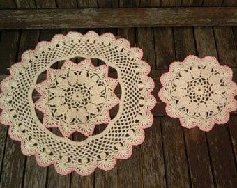 Handmade Beige/Pink Crochet Doily Round x 2 Matching Set