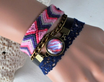 fushia pink and blue cuff with cabochon bracelet hand painted