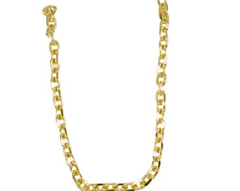 """36cm or 14"""" Small Light Gold Chain - 10mm Width, Replacement Chain, Chain Strap, Curb Chain, Chain Handle with Clasp, Layered Chain"""