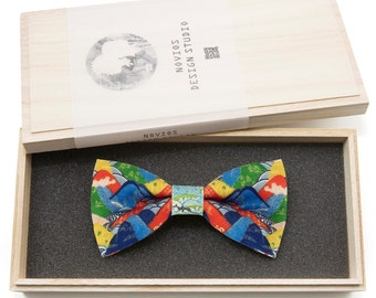 Colorful Japan Bowtie - birthday gift, Toddler Bowtie Toddler Bow tie, Groomsmen bow tie, Pre Tied and AdjustableNovioshk, H0219