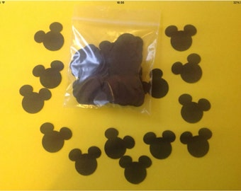 Black mickey mouse confetti. Pack of 100 pieces. Perfect for Disney weddings or birthdays. Buy 2 packs and get 1 pack free.