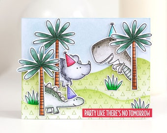 Party card with dinos