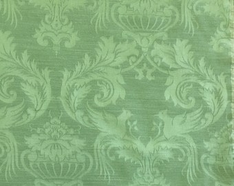 Tone on Tone Green Damask - Upholstery Fabric by the Yard