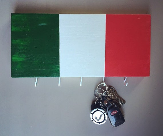 Italy Flag Hand Painted Wooden Wall Key Chain Holder Italian