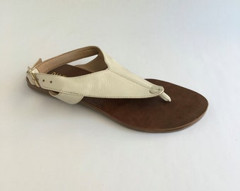 Brazilian Leather Slingback Sandals for Women in White