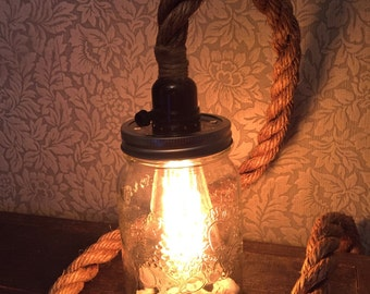 Rustic mason jar light, lamp  with Edison bulb. Rustic, nautical, shabby chic.
