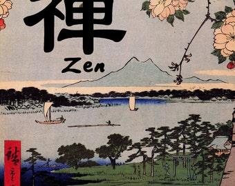 Zen Buddhist Art Print with Inspirational Spiritual Word Art ~ ZEN   (JW118)
