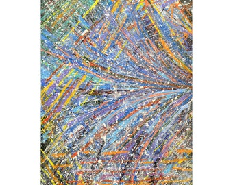 Fireworks - Abstract Acrylic Original Painting on Canvas - ready to hang