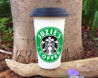Starbucks ceramic travel mug - personalized - ceramic with silicon lid - travel mug - take away - custom made