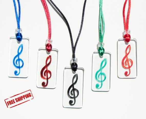 Treble clef - Free shipping - Glass - Necklace - Various colors - Musical note - Musicians - Music lovers - For her - Ready To Ship