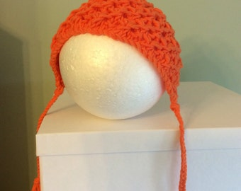 Orange pixie bonnet for baby