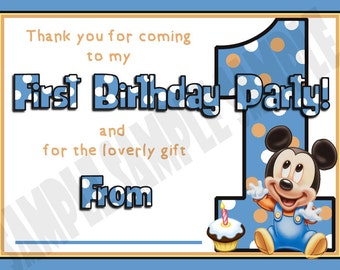 Mickey Mouse First / 1st Birthday Party Thank You Notes