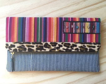 Fold Over Clutch - Clutch Bag - Purse - Pouch - Recycled Upcycled Textiles - Eclectic - Eco Conscious - Animal Print - Boho