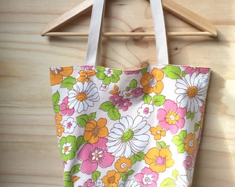 Tote - Market Bag - Beach Bag - Shopping Bag - Recycled Textiles - Floral - Vintage - Pink Yellow - Reversible