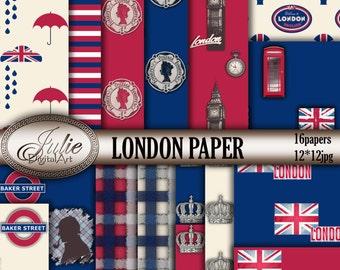 London digital papers UK British flag digital paper England background London phone booth Big ben Patterns red blue. Instant Download