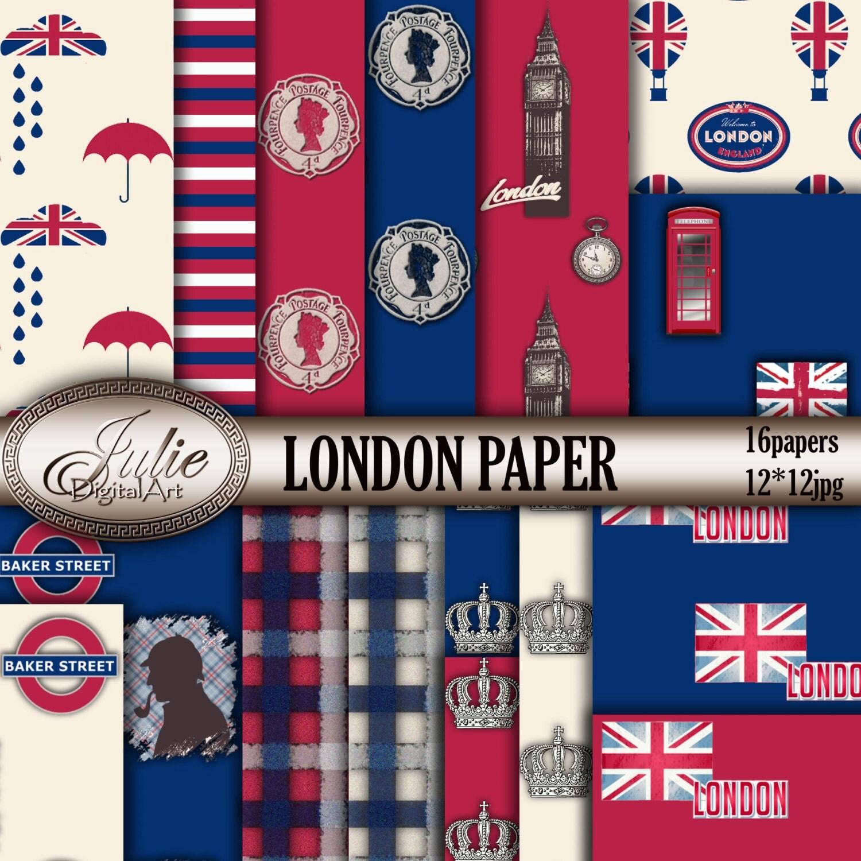 Scrapbook paper england - London Digital Papers Uk British Flag England Phone Booth Big Ben Patterns Red Blue Instant Download