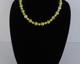 Yellow Splatter Glass Beaded Necklace