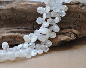 Rainbow Moonstone Faceted Pear Briolettes, 10 - 11 mm, 10 beads