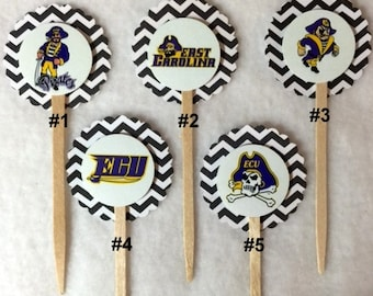 Set Of 12 East Carolina Pirates Cupcake Toppers (You Choice Of Any 12)
