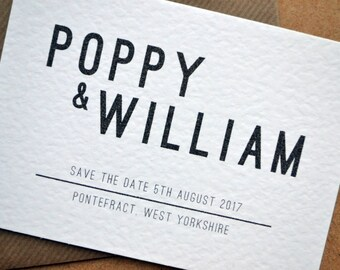 Save the Date - Bold Script Hammered White A6 Personalised Black & White Typography Wedding including C6 Kraft Envelope