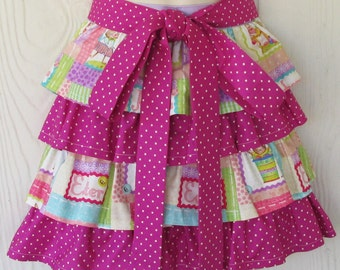 Cute Easter Half Apron, Ruffles, Bunnies, Jellybeans, Waist Apron, Orchid Polka Dots, READY TO SHIP, KitschNStyle