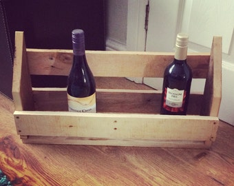 Wall Mounted Wine Rack - Solid Wood Rustic Wine Holder