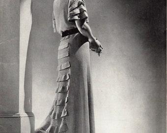 "Vintage 30's Knitted Dress PDF / Minerva Paris Book Volume No. 40 1935 ""Antoinette"""