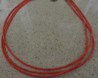 Coral Necklace,  Orange Coral Necklace,  Orange Necklace,  Multi-strand Necklace,