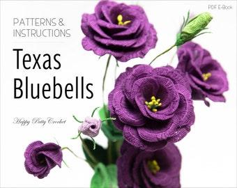 Crochet Texas Bluebells Pattern - Crochet Flower Pattern - Lisianthus Flower Pattern - Crochet Lisianthus Flower Pattern