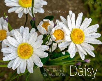 Crochet Daisy Flower Pattern - Shasta Daisy Pattern - Instant Download