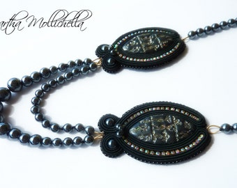 Black pearls necklace handmade with hematite and soutache