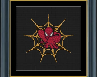 Marvel Cross Stitch Pattern - Spiderman Counted Cross Stitch (Web Crawler) - INSTANT DOWNLOAD