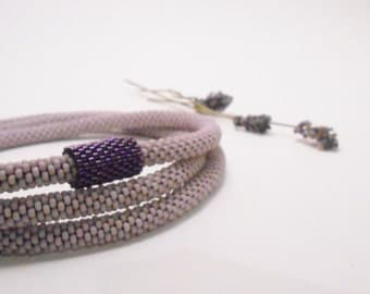 Scent of lavender - Crochet rope necklace -Bridesmaid necklace - Purple necklace