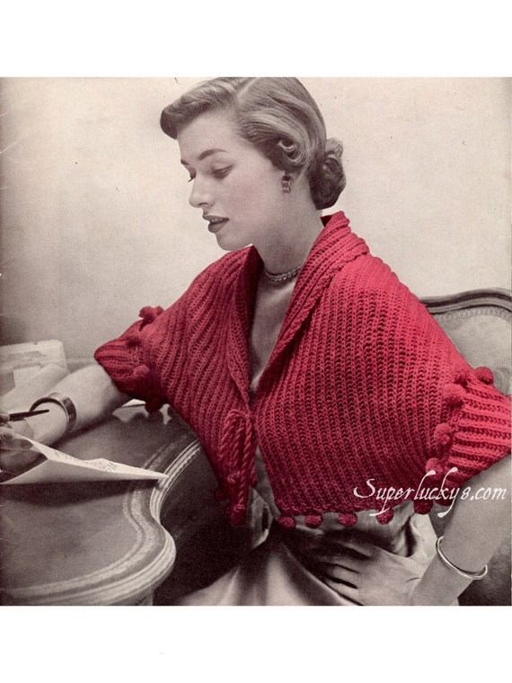 Vintage Bed Jacket Knitting Pattern : Items similar to Reprint Vintage Bed-Jacket knitting pattern in PDF instant d...
