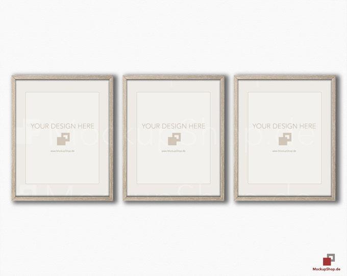 "FRAME MOCKUP BROWN, 8x10"", 3x horizontal & vertical brown Mockup, picture frame mockup in brown on white vintage wood"