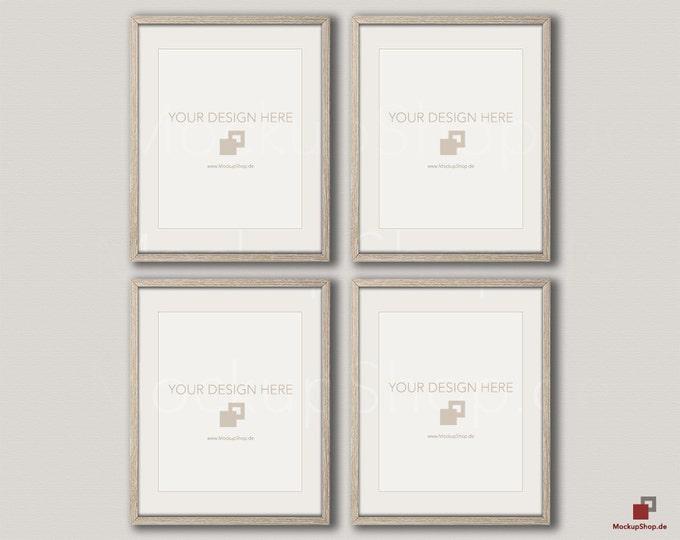 Wood MOCKUP FRAME 16x20 / vertical Frame / Set of 4 Frames  / beige wall / Old Vintage Frame Mockup / Vintage nordic style / Empty Mockup