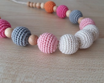 Nursing necklace.Teething necklace.Breastfeeding.Eco-frendly.WOOD.Juniper.Organic cotton.Pink.