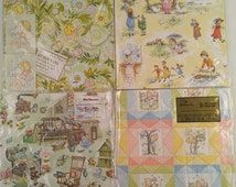 Vintage Gift Wrap Paper Lot Great for Crafts Decoupage or Scrapbooking Precious Moments Baby Raggedy Ann and Andy Kids Kate Greenaway